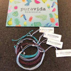 NWT Pura  Vida bracelet set in blues and maroons